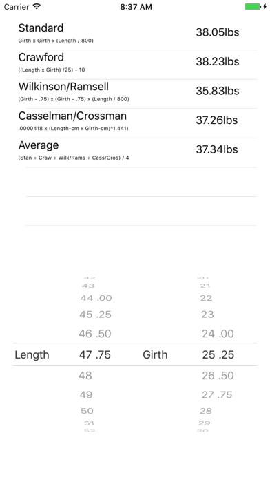 Muskie Weight Calculator iPhone Screenshot 1