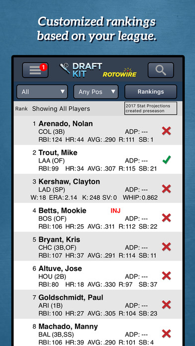 RotoWire Fantasy Baseball Draft Kit 2017 Screenshot