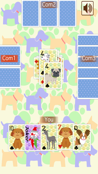 Old Maid Dog (Playing card game) iPhone Screenshot 2