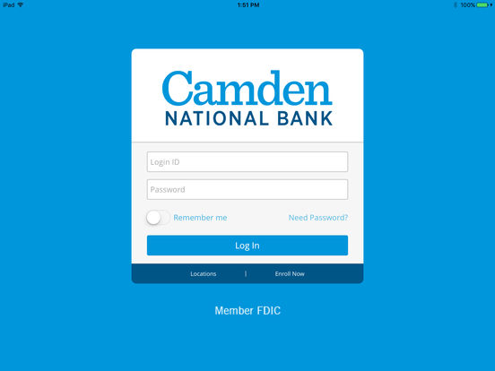 Camden National Mobile Banking iPad Screenshot 1