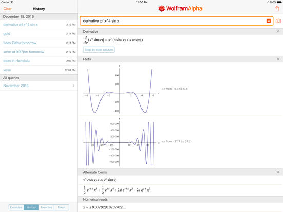 WolframAlpha iPad Screenshot 2