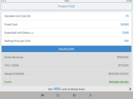 Break-Even Analysis iPad Screenshot 1