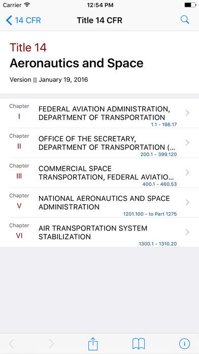 Aeronautics and Space (Title 14 Code of Federal Regulations) iPhone Screenshot 1