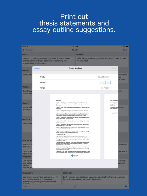 outline thesis statement generator