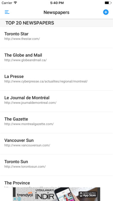 CANADIAN NEWSPAPERS and MAGAZINES iPhone Screenshot 1