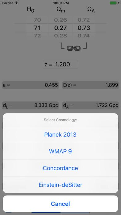 CosmoCalc iPhone Screenshot 2