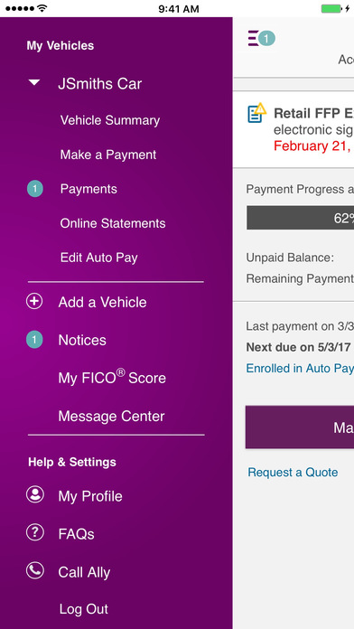 Screenshots of Ally Auto Mobile Pay for iPhone