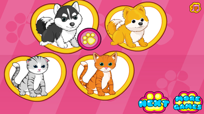 Cats dogs grooming salon dressup game app report on for Action clips grooming salon