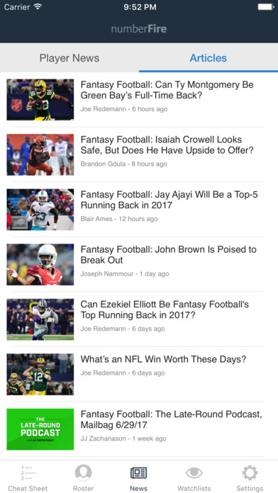 numberFire Fantasy Football Draft Kit 2017 screenshot 4