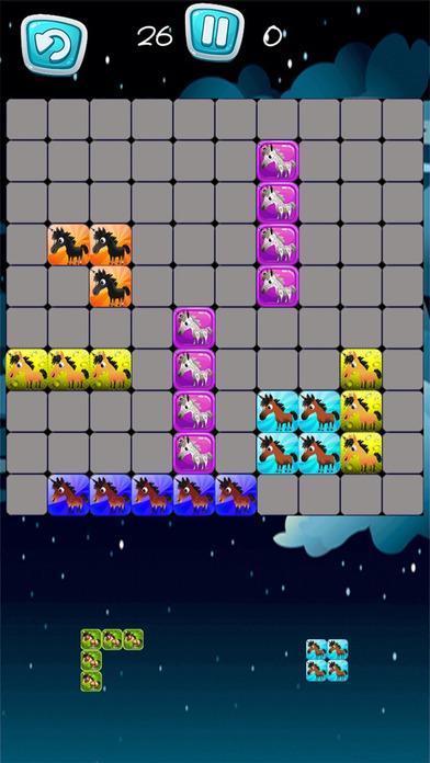 Pony Unicorn New Tetri Puzzle Flow screenshot 2