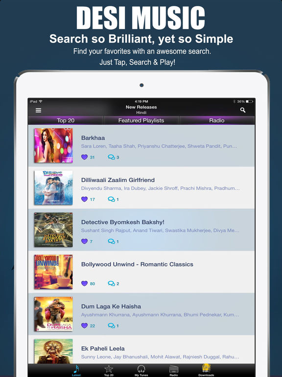 Desi Music: Bollywood Hindi Songs, Radio & Lyrics Screenshots