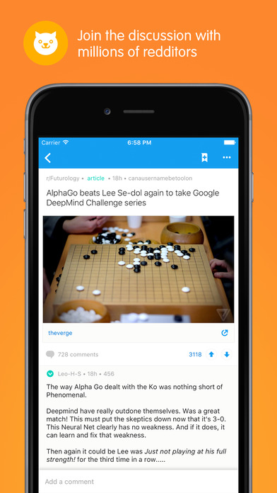 Screenshots of Reddit: The Official App for iPhone