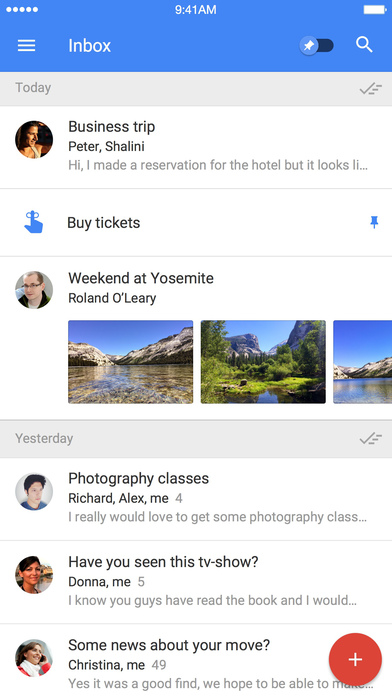 Screenshots of Inbox by Gmail for iPhone
