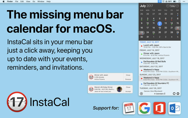 InstaCal for Mac 1.5 破解版 – 优秀的菜单栏日历工具-爱情守望者