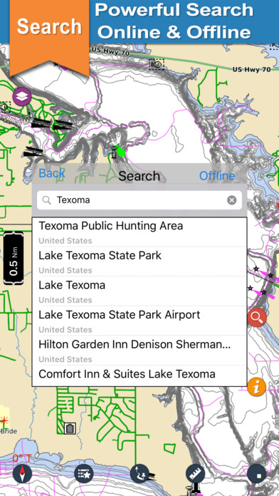 Screenshot for Lake Texoma gps offline nautical chart for boaters in Austria App Store