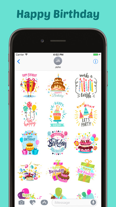 Happy Birthday Stickers Pack for iMessage screenshot 2