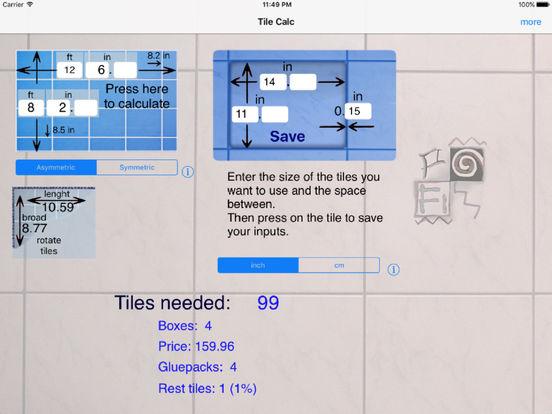 Tile Calc iPad Screenshot 2