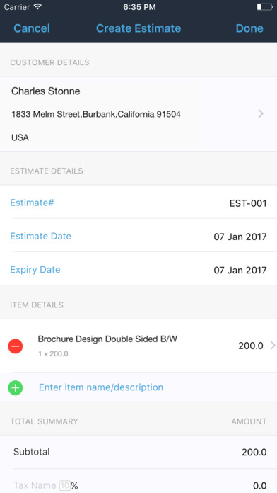 Estimate Generator - Zoho screenshot 2