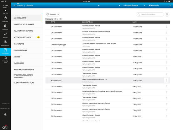 Citi Private Bank Mobile iPad Screenshot 4