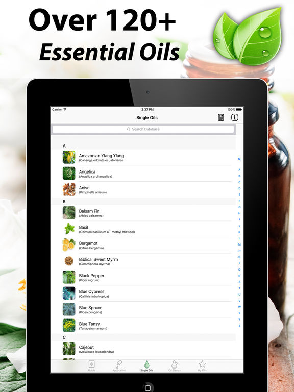 Essential Oils Reference Guide to Young Living Oil Screenshots