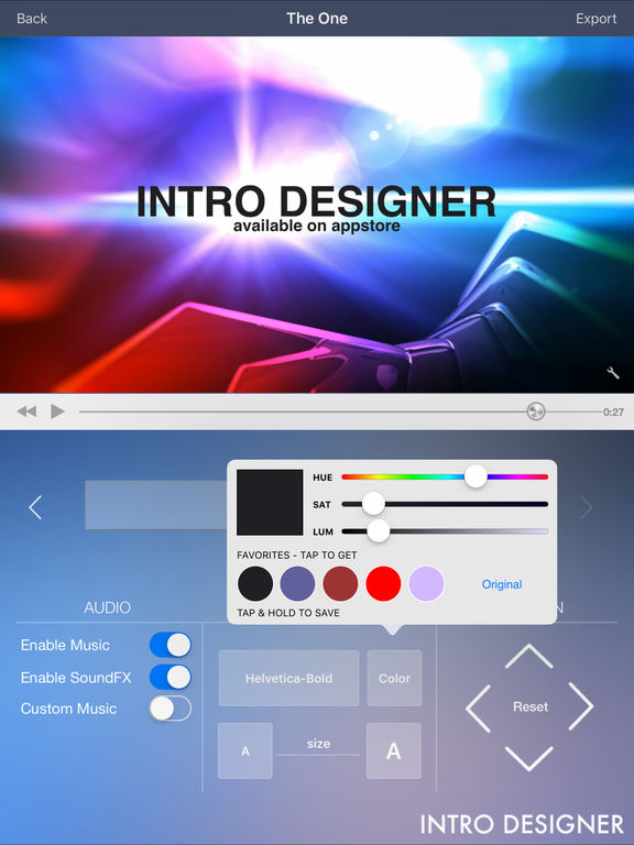 Intro Designer for iMovie and Youtube Screenshots