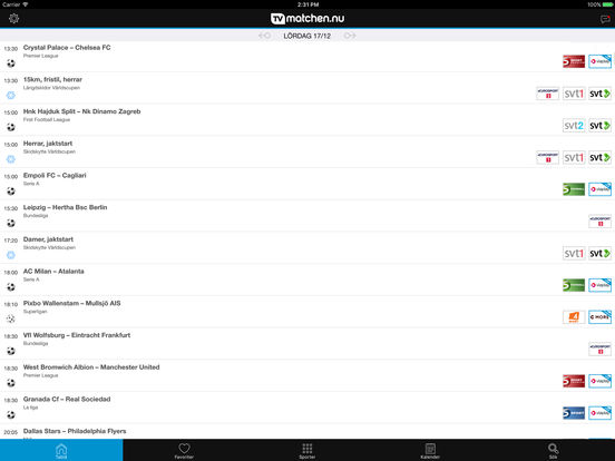 tvmatchen.nu iPad Screenshot 1