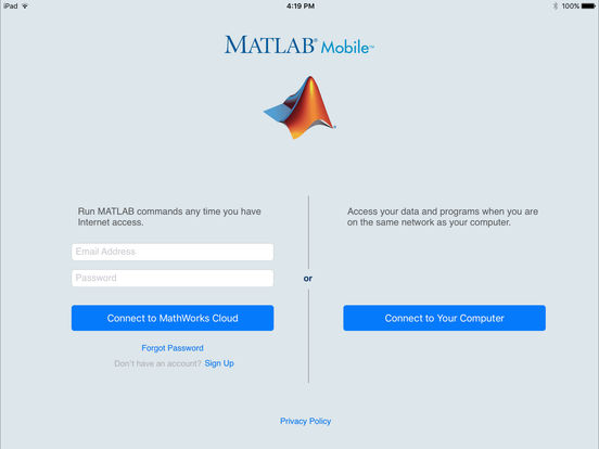 MATLAB Mobile iPad Screenshot 1
