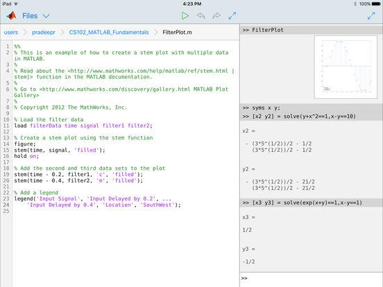MATLAB Mobile iPad Screenshot 2