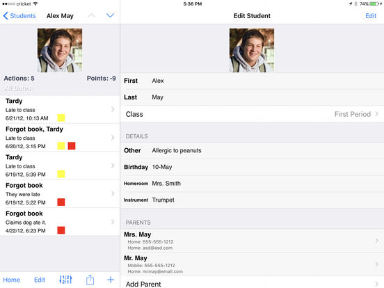 Teacher's Assistant Lite: Track and Report Student Actions, Achievements, and Behavior iPad Screenshot 4