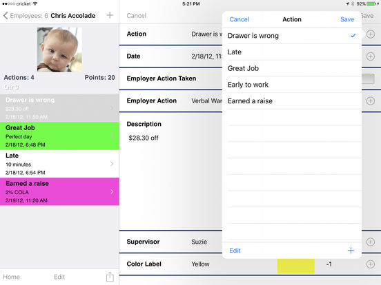 Employee Tracker Lite iPad Screenshot 2