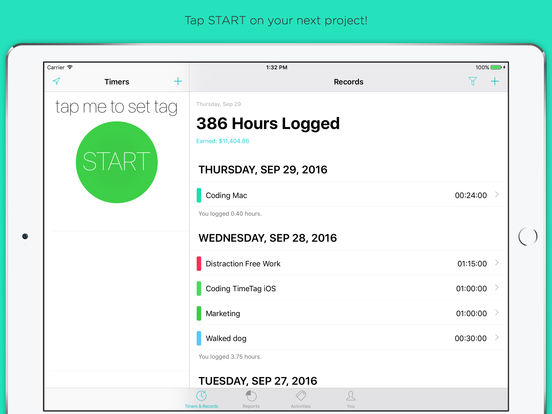 TimeTag 7.0 for iOS Released - A redesigned, simple time tracking app Image