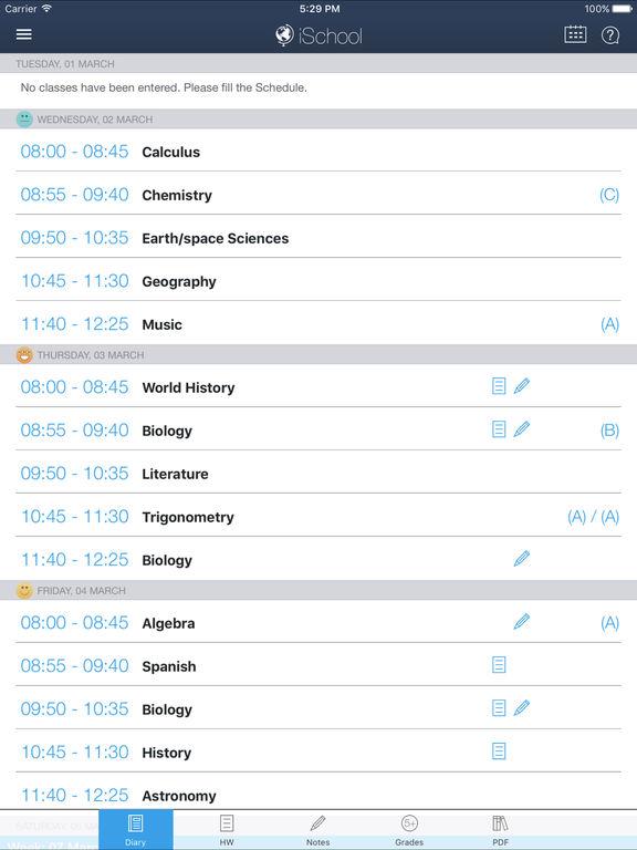 iSchool - School diary Screenshots