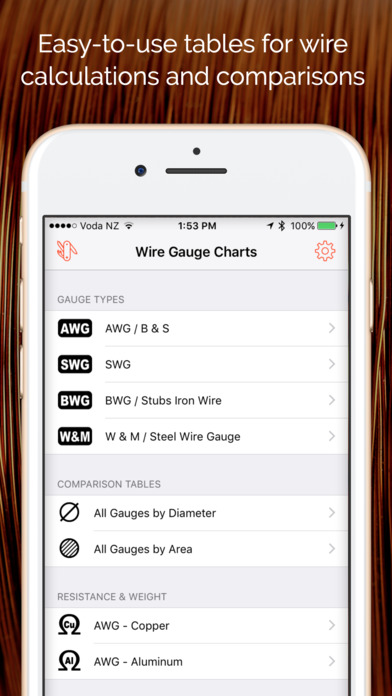 App shopper wire gauge charts size tables for awg swg bwg iphone ipad keyboard keysfo Images
