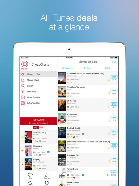 CheapCharts: Movie, TV, and App Deals for iTunes Screenshot