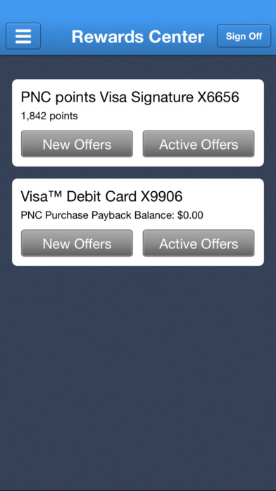 Screenshots of PNC Mobile Banking for iPhone
