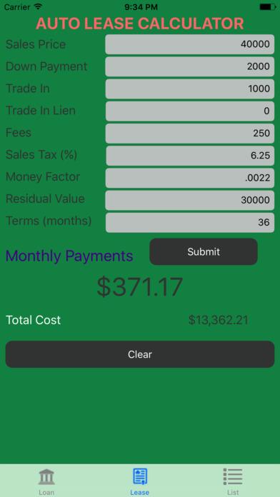 Car lease payment calculator app 18
