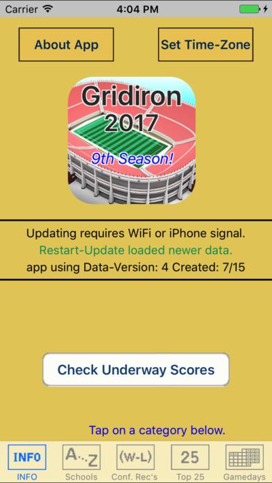 Gridiron 2017 College Football Scores & Schedules screenshot 1