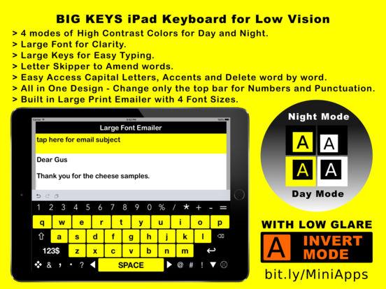 Big Keys iPad High Visibility Keyboard for Low Vision, Macular Degeneration