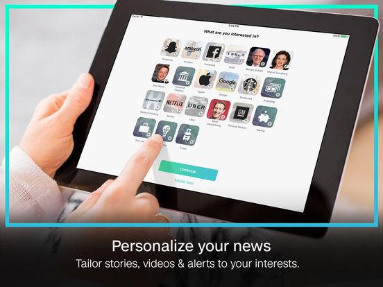 Screenshots of CNN MoneyStream for iPad