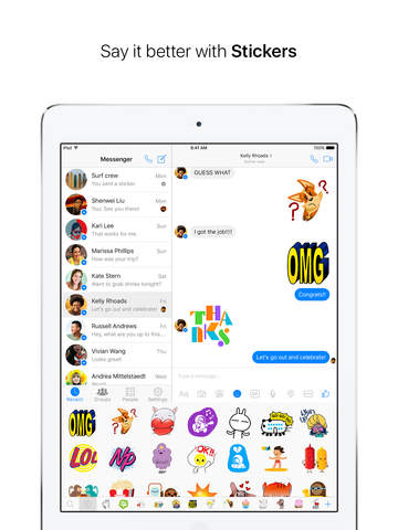 Screenshots of Facebook Messenger for iPad