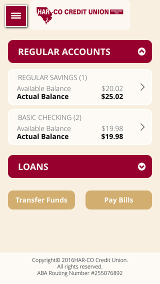 Harco Credit Union iMobile App iPhone Screenshot 2