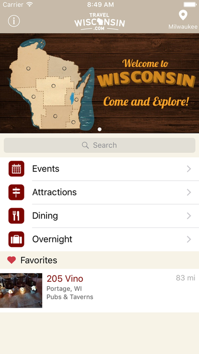 Travel Wisconsin iPhone Screenshot 1
