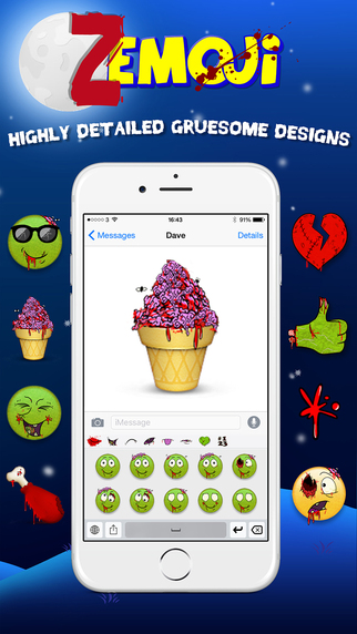 Zemoji - Zombie Emoji Keyboard (Emoticon Dead Face Emojis) Screenshots