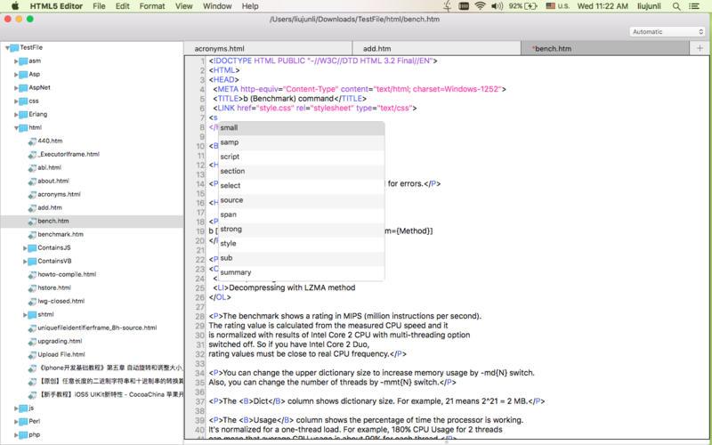 HTML5 Editor Screenshot - 1