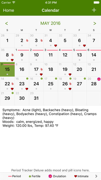 Period Tracker Lite iPhone Screenshot 2