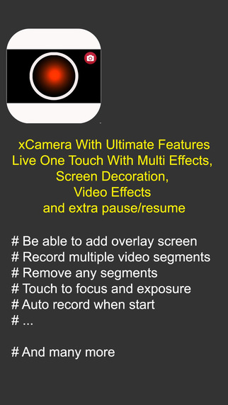 xCamera - One touch on screen to record with effects and share video Screenshots