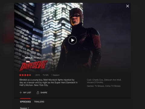 Screenshots of Netflix for iPad