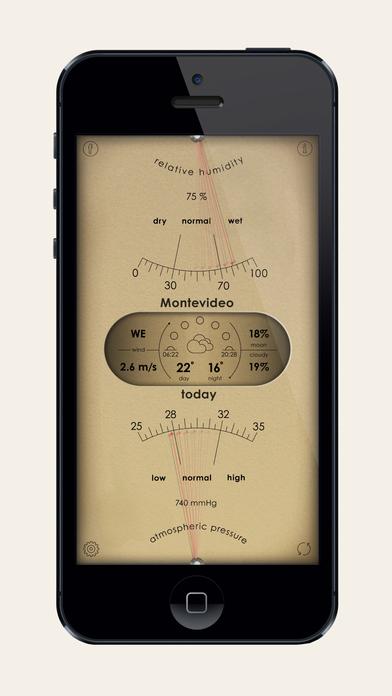 Analog Weather Station - барометр, ртутный термометр и влажность Screenshot