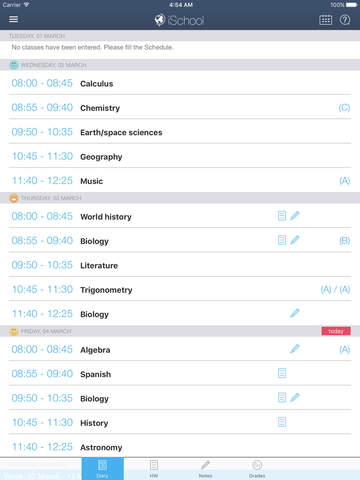 iSchool - School diary Screenshots