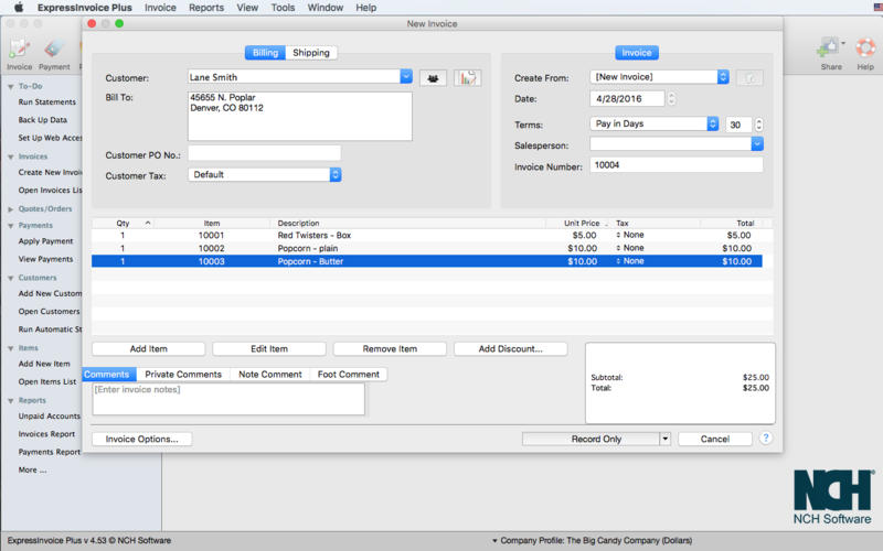 Express Invoice Invoicing Screenshots